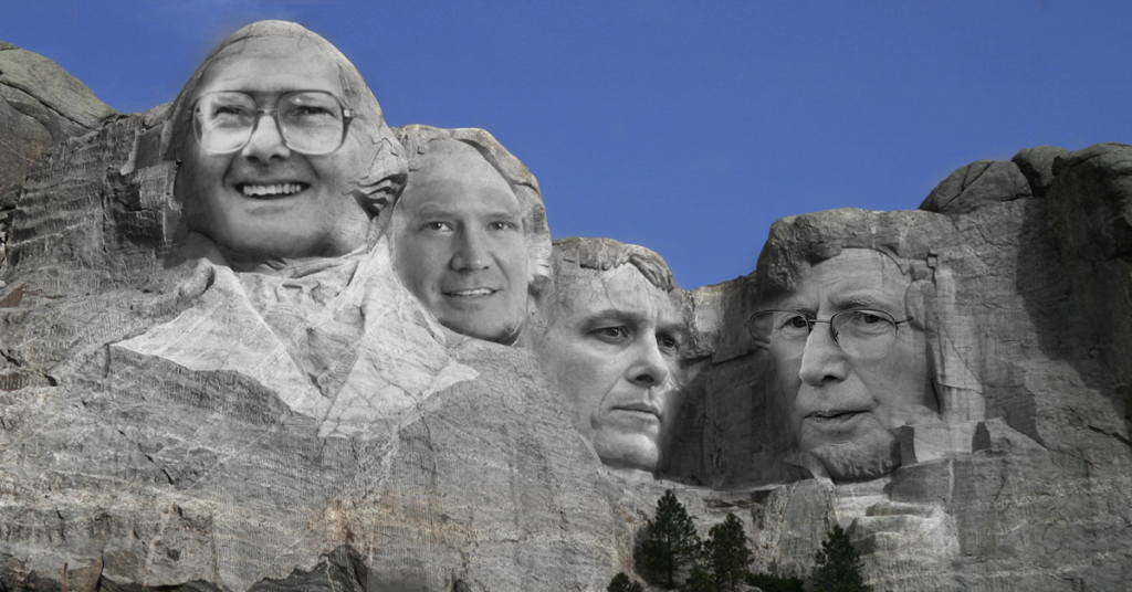 mount rushmore photograph with lamar hunt, bill self, dayton moore, bill snyder